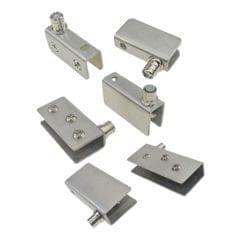 2PCS Stainless Steel Door Glass Pivot Clamps Cabinet Door Hinge S