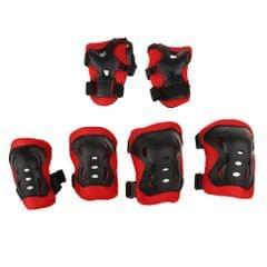 7 Pieces Kid Child Roller Skating Bike Helmet Knee Wrist Guard Elbow Pad Set Red