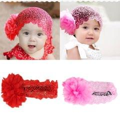 Baby Girl 6-24 Month Flower Lace Wide Headband Elastic Band Hair Accessories Headwear - Red