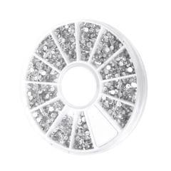 1200pcs 2mm Nail Art Tips Clear Crystal Glitter Rhinestone Decoration with wheel