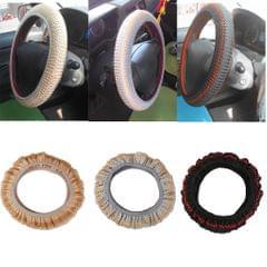 Non-slip Ice Silk Car Steering Wheel Cover Vehicle Grips Skin Black+ Red
