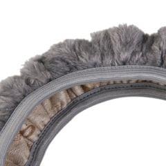 Soft Short Plush Winter Car Steering Wheel Cover Vehicle Grips Skin Grey