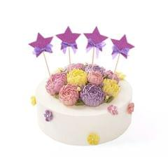 4x Twinkle Twinkle Little Stars Cake Toppers Birthday Cupcake Picks Rose Red