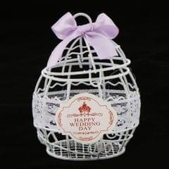 Romatic Mental Wedding Favor Box Candy Cookie Gift Box White & Purple