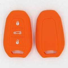 Silicone Car Key Cover Fit for AUDI Smart Remote Key Fob Case Shell Orange