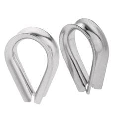 2 Pieces Stainless Steel Heart Shaped Cable Thimbles Wire Rope Fitting 12mm