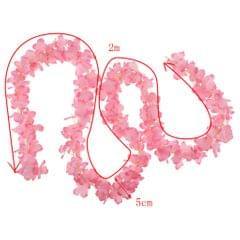Artificial Flower Strings Fake Wisteria Vine Silk Hanging Garland Pink