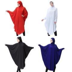 Arab Muslim Abaya One-piece Overhead Hijab Prayer Kaftan Robe Dress M Black