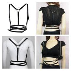 Punk Leather Body Harness Crossover Cage Suspenders Chain Waist Strap Belt