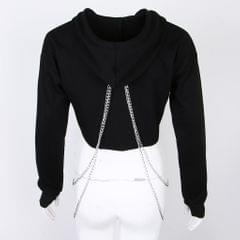 Women Fashion Long Sleeve Pullover Hoodie Crop Top Metal Chain Sweatshirt L