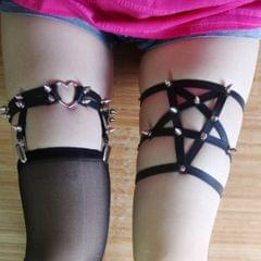 Sexy Black Heart Stud Rivet Women Leg Leather Sock Garter Suspender Belt