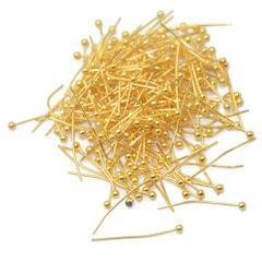 200pcs 20mm Light Golden Brass Ball Pins Jewelry Findings Headpins