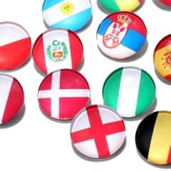 Round Buttons 32 Teams National Flag Football Fans Brooch Denmark