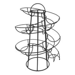 Modern Iron Spiral Egg Storage Roller Rack Keeper Space Saver 24 Eggs Black