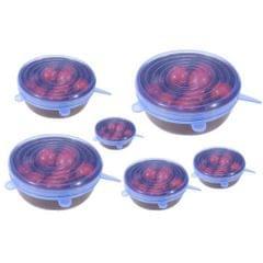 3PCS Reusable Stretch Lid for Suction Pot Seal Bowl Kitchen Storage Blue-L