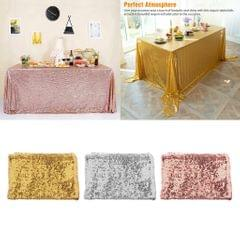 """63""""x39"""" Seamless Sequin Tablecloth Sparkly Shimmer Decoration  Silver"""