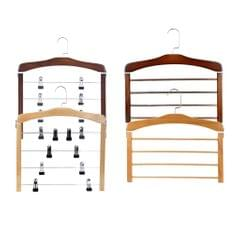 4 Tier Wooden Pants Hanger Closet Storage Organizer Light Brown