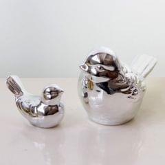 Ceramic Bird Shaped Ornament Statue Figurine Photo Props Home Decor Silver S