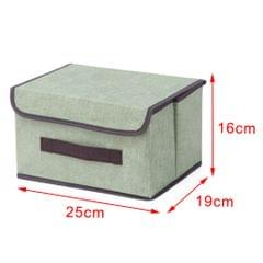 Foldable Storage Box with Lid Snacks Organizer Container Closet S Green