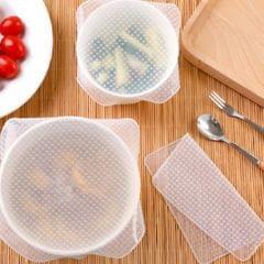 4pcs/ Set Reusable Silicone Stretch Lids Wrap Bowl Seal Cover White