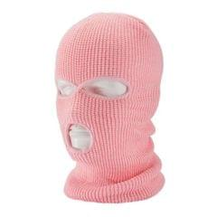 3-Hole Balaclava Knit Knitted Full Face Ski Cover Mask Beanie Hat  pink