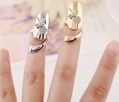 STRIPES Punk Dragonfly Flower Rhinestone Finger Tip Nail Ring Gold/Silver for Women/Girls