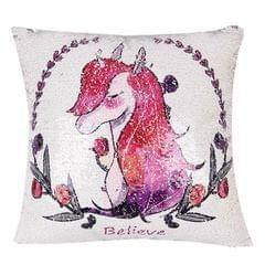 Sequin Unicorn Decorative Cushion Covers Reversible Pillow Cover, Size: 40cm x 40cm