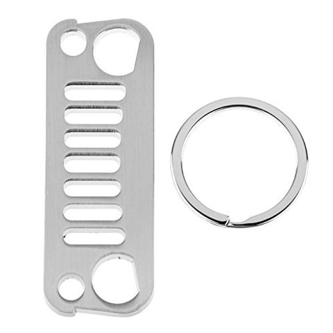 Stainless Steel Radiator Grille Type Keychain Keyring for Jeep Enthusiast