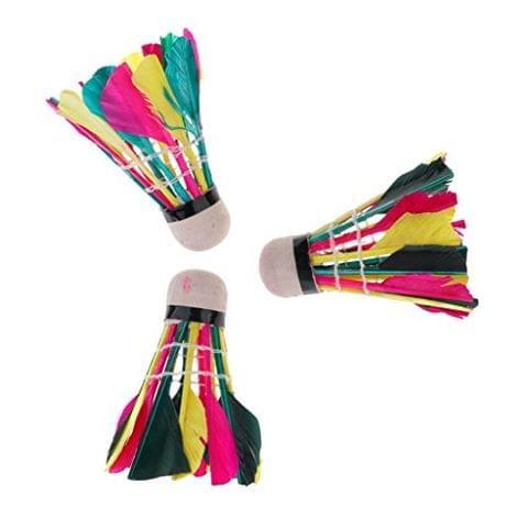 Pack of 3 Nylon Badminton Shuttlecocks Balls for Club Practice Entertainment - Colorful