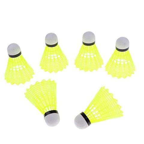 6 Pcs Nylon Badminton Shuttlecocks Balls - Outdoor Indoor Sport Activities - Yellow