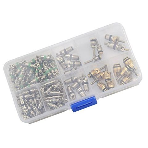 134 Piece Assortment Schrader Valves R134a Kit 11 Kinds AC Valve Cores