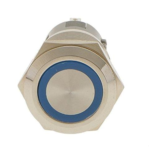 Generic Metal Blue LED Momentary 19mm Push Button Switch 12V SPST Waterproof Car SUV Truck
