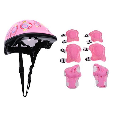 7 Pieces Kids Child Multi-Sport Helmet with Knee Pads Elbow Wrist Protection Set for Skateboard Cycling Skate Scooter - Pink