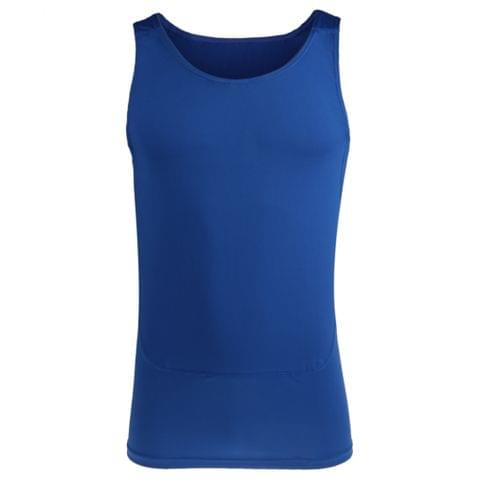 Mens Compression Vest Sleeveless Stretchable T-Shirt Athletic Tank Top Sports Fitness Basketball Hiking Cycling Clothing Blue XL