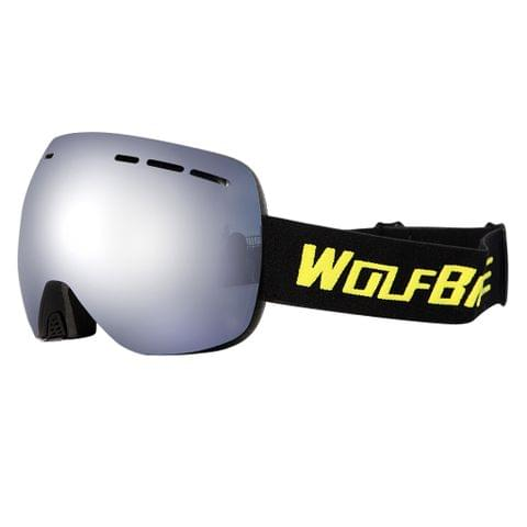 Ski Goggles Anti-fog Ski Mask Glasses UV Protection Black Frame Silver Lens