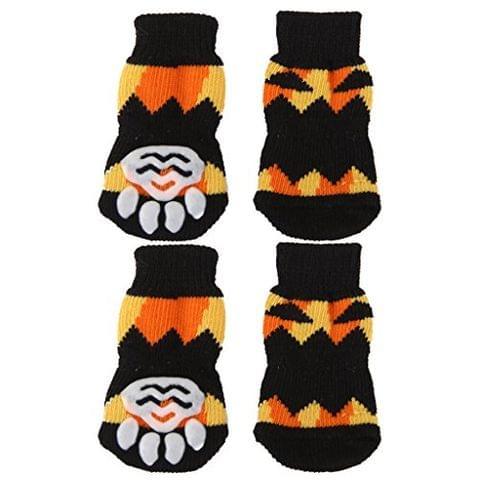 Pair of 2PCS Puppy Dog Cat Non Slip Flexible Fashionable Socks Footwear L Black +Yellow