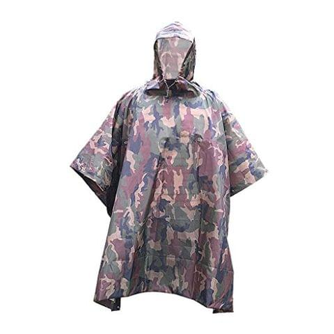 Waterproof Rain Poncho, Multifunction Outdoor Camouflage Raincoat, for Hunting Camping and with Grommet Corners for Shelter Use