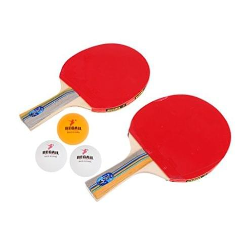 2 Players Table Tennis Ping Pong Complete Set- 2 Pieces Shake Hands Grips Bats Paddles Rackets & 3 Pieces Balls & 1 Piece Carry Cover Bag