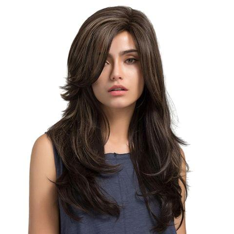 Fashion Women Synthetic Hair Cosplay Long Straight Wavy Curly Side Bangs Natural Wigs Costume Fancy Party Wigs Brown