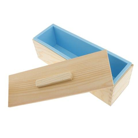 Blue Flexible Rectangular Soap Silicone Loaf Mold Wood Box for 1200g Soap Making Supplies