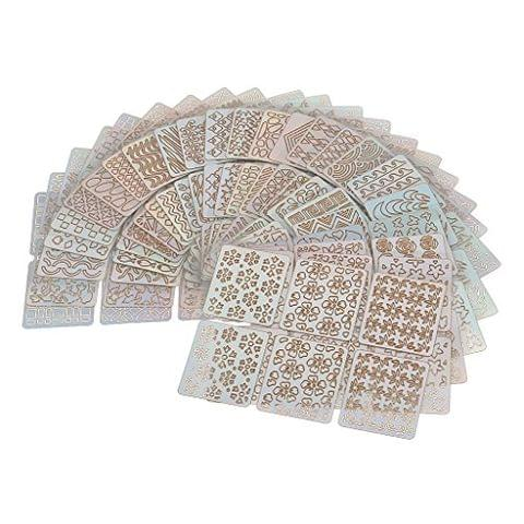 24 Pieces Vinyl Hollow Grid Manicure Stickers Guide Stamping Stencil Template Nail Art Tools