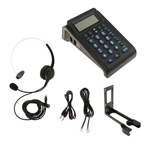 HT582 LCD Display Telephone With Corded Headset Call Center Phone Dial Pad