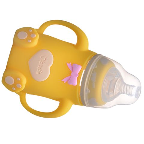 240ML Infant Baby Feeding Wide Neck Milk Bottle With Handles Yellow