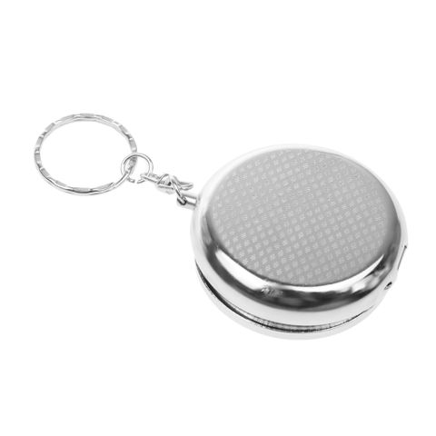 Mini Pocket Stainless Steel Outdoor Travel Round Ash Tray Ashtray with Key Chain Ring
