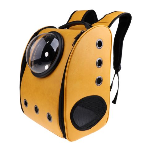 Astronaut Dog Cat Backpack Carrier Transparent Breathable Small Pet Shoulders Bag for Travel Hiking Camping ( Yellow )