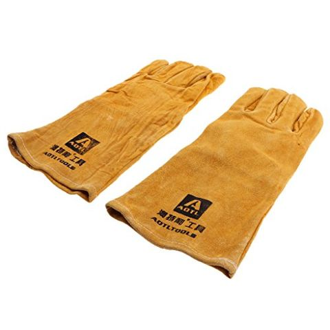 1 Pair Long Welding Protective Gloves Hands Cover Flame Resistant For Welder