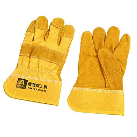 1 Pair Welding Cowhide Leather Welder Protective Work Gloves One Size Home