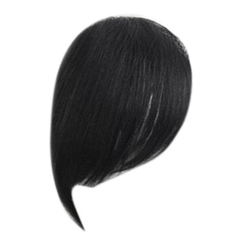 Natural Real Human Hair Side Bangs/Fringe Hand Tied Bangs Fashion Clip-in Hair Extension (Natural Black)