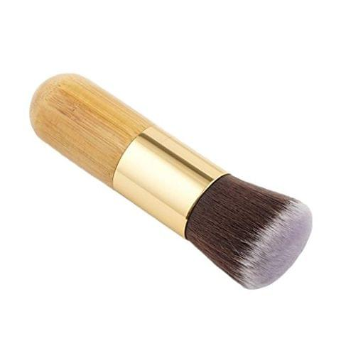 Natural Bamboo Wooden Handle Flat Top Buffer Face Foundation Loose Powder Contour Bronzer Makeup Brush Tool Dense Hair