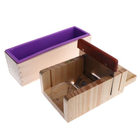 Silicone Soap Loaf Mold DIY Wooden Lid Box Pine Soap Cutter Slicer Tools Kit
